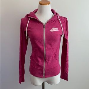 Nike zip up pink size small